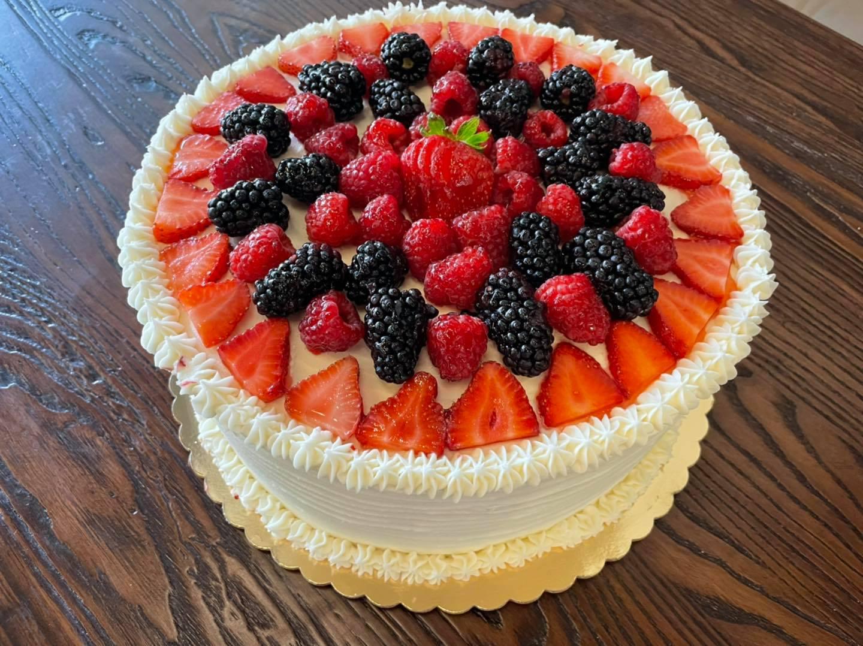 fruit topped cake